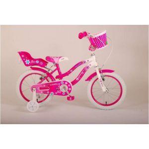 Volare Lovely Kinderfahrrad Mädchen 16 Zoll Rosa Weiß Zwei Handbremsen 95% zusammengebaut