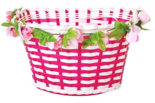 Volare Geflochtener Fahrradkorb Blumen Mädchen Weiß/Rosa