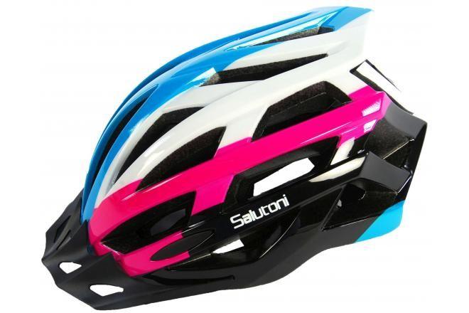 Salutoni Damen Fahrradhelm - Blau Weiß Rosa - 54-58 cm