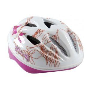 Volare Fahrradhelm - Skate Helm Heluxe weiß Pink Blätter 51-55 cm