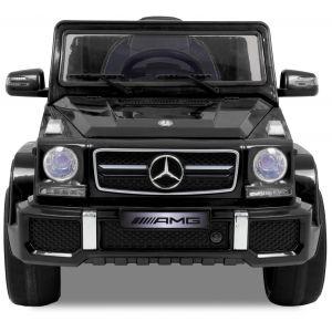 Mercedes Kinderauto G63 AMG schwarz Vorderansicht Logo Seitenspiegel Motorhaube