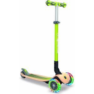 Globber Kinderroller Primo Beleuchtung Holz grün